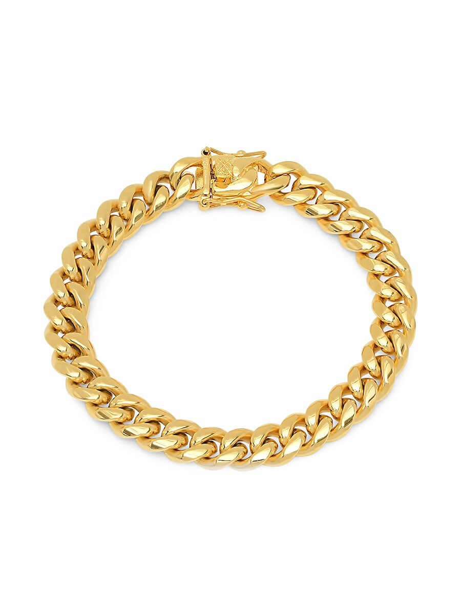 Men's 18K Goldplated Stainless Steel Miami Cuban Chain Link Bracelet