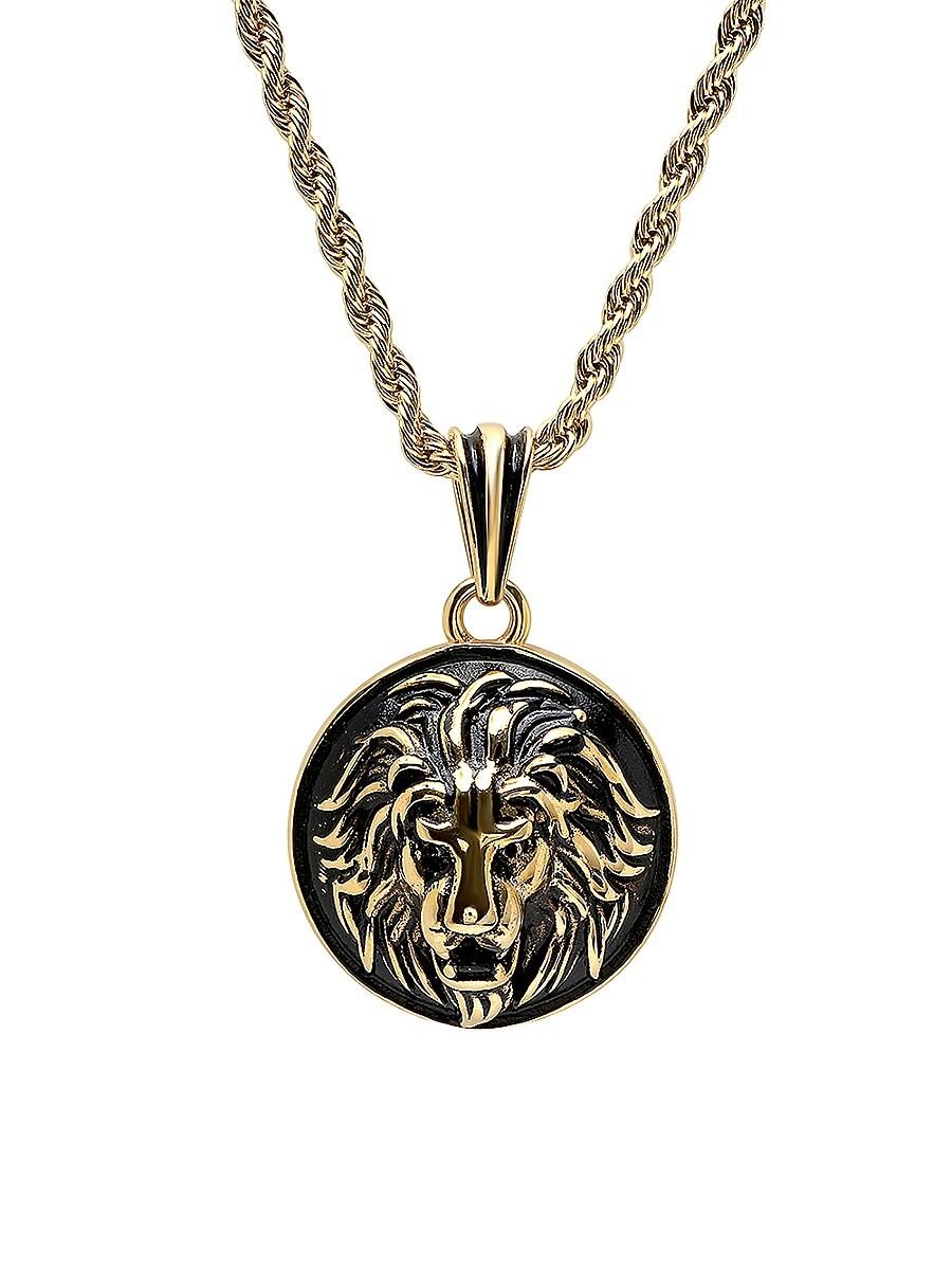 Men's 18K Goldplated & Black IP Stainless Steel Lion Head Mount Pendant Necklace