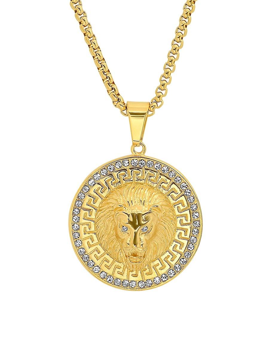 Men's 18K Goldplated Lion Head Pendant Necklace
