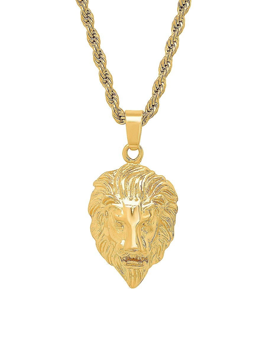 Men's Lions Head 18K Gold Plated Stainless Steel Pendant
