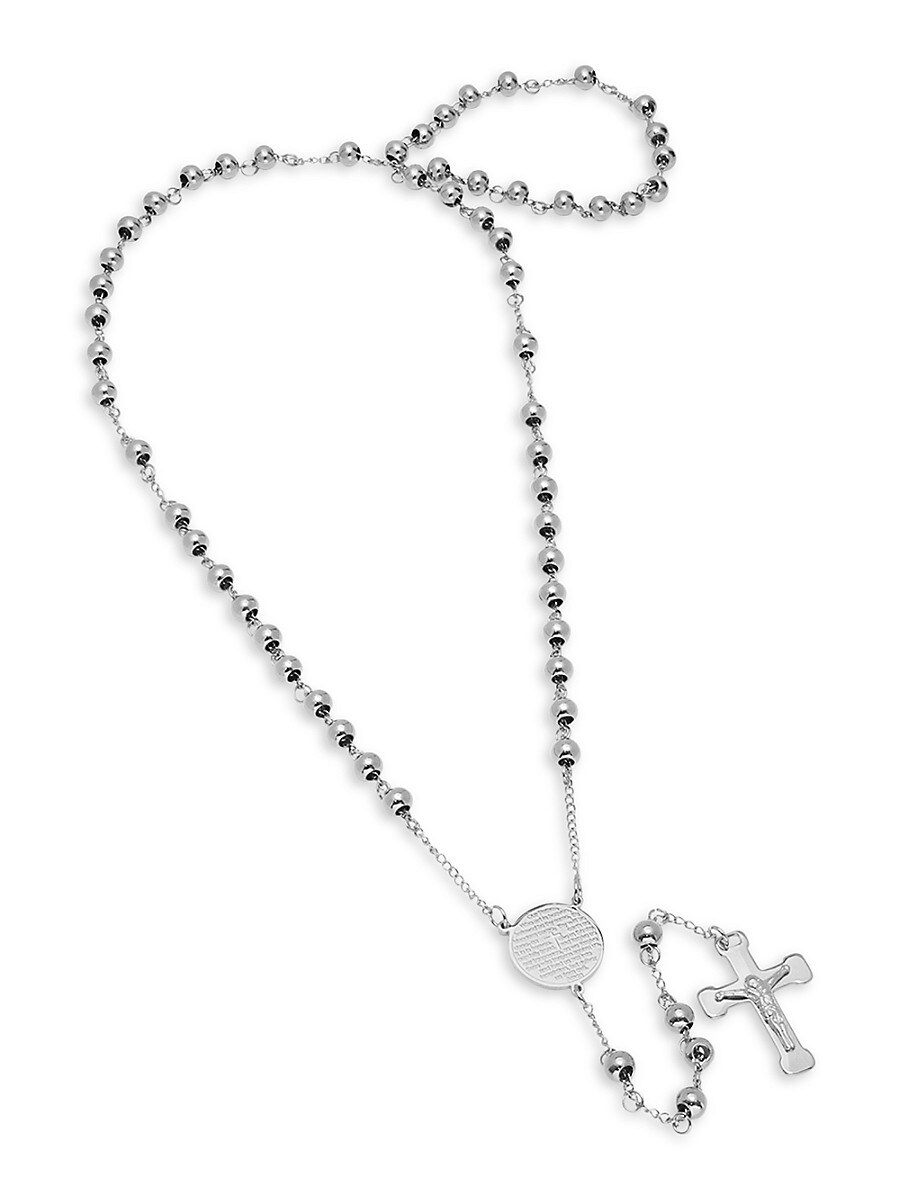 Men's Stainless Steel Our Father Lords Prayer Charm & Rosary Necklace