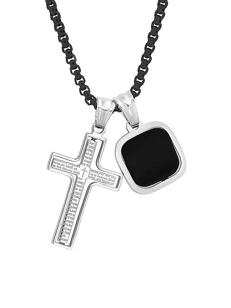Men's Two-Tone Stainless Steel Rotating Cross & Faux-Onyx Square Pendant Necklace