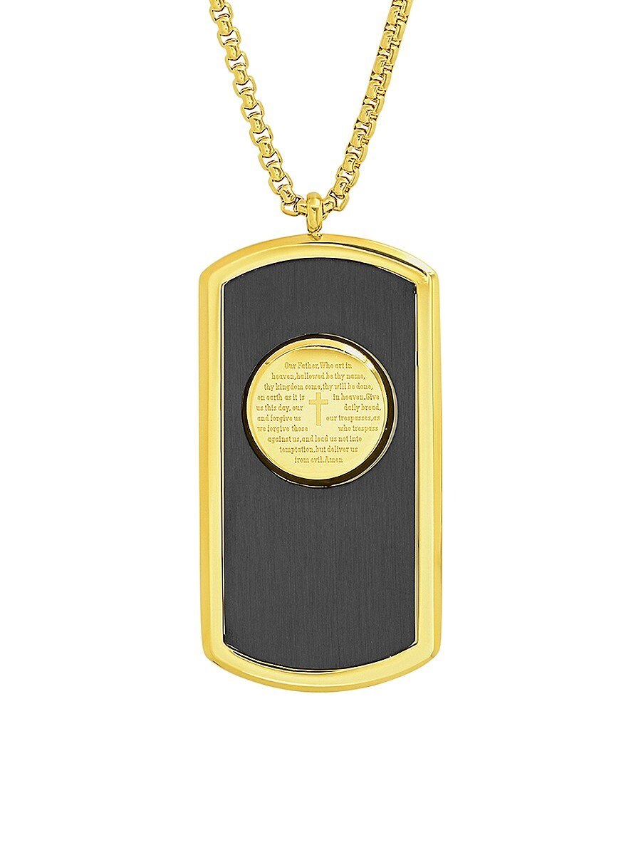 Men's 18K Yellow Goldplated Two Tone Stainless Steel Prayer Dog Tag