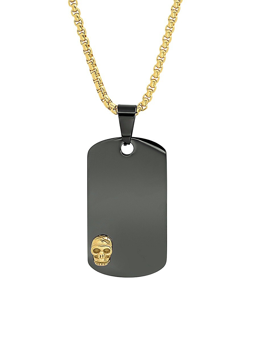 Men's Black Ion-Plated & Goldplated Stainless Steel Skull Dog Tag Pendant