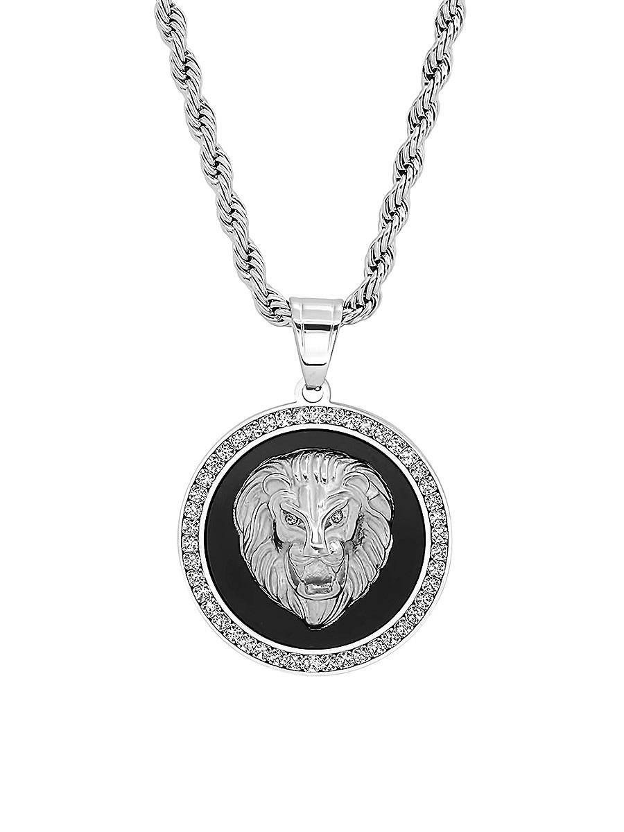 Men's Stainless Steel & Cubic Zirconia Lion Head Pendant Necklace