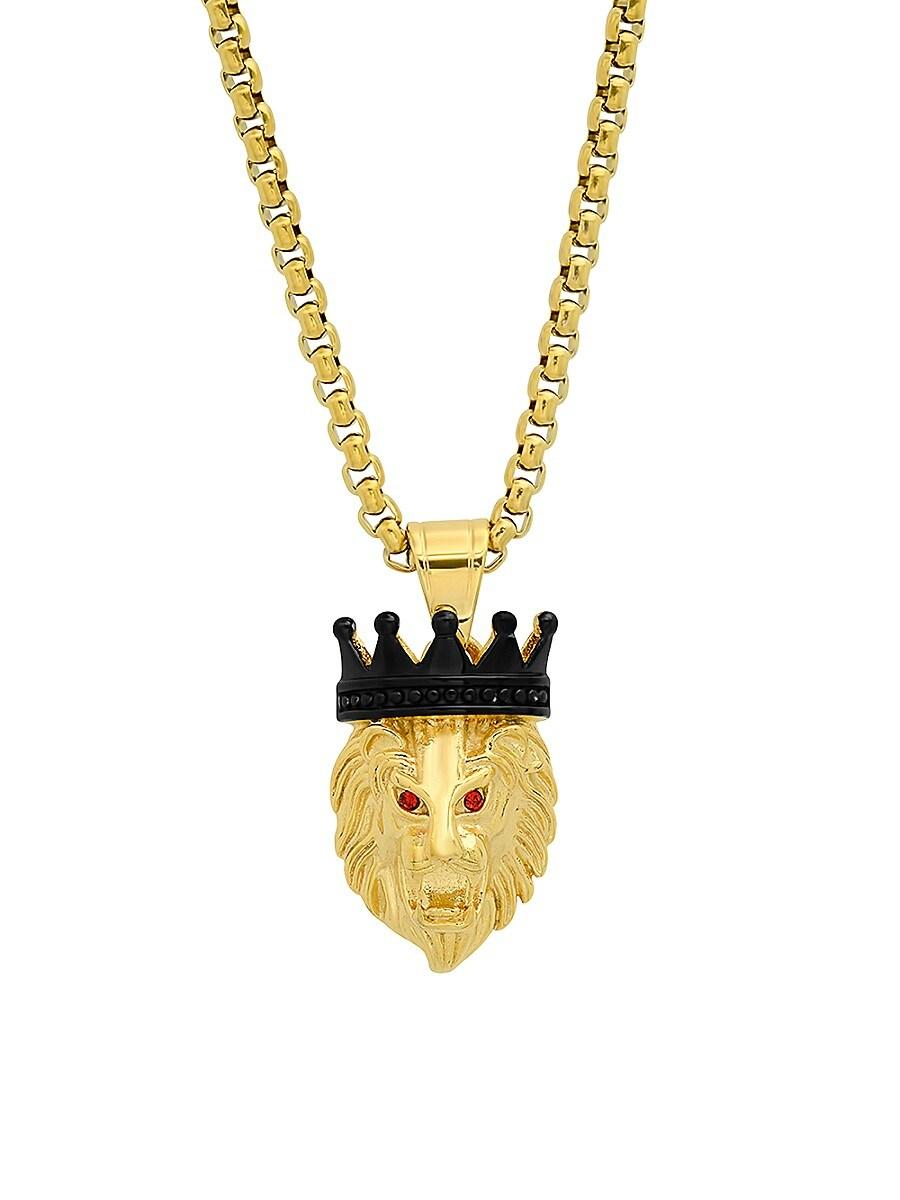 Men's 18K Goldplated Lion Crown Pendant Necklace