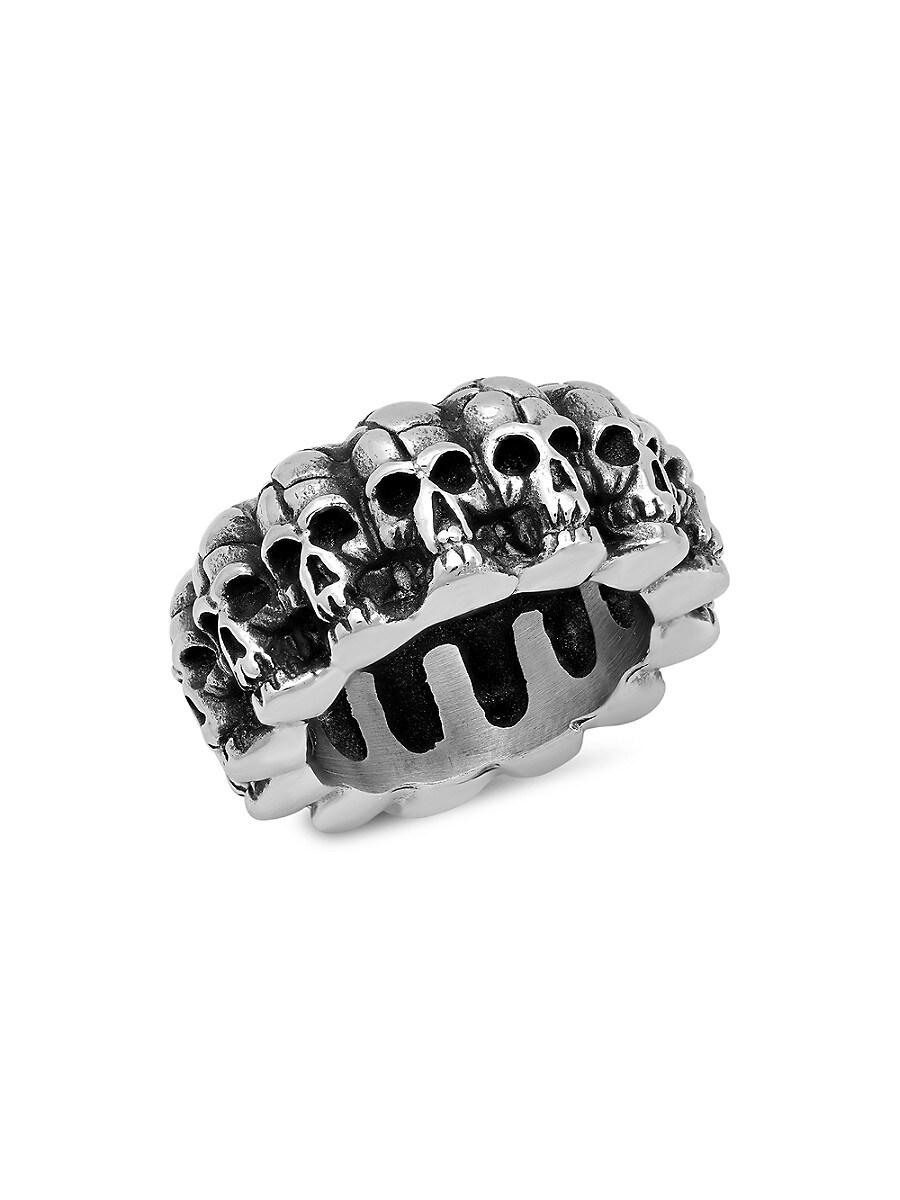 Men's Oxidized Skull Stainless Steel Ring