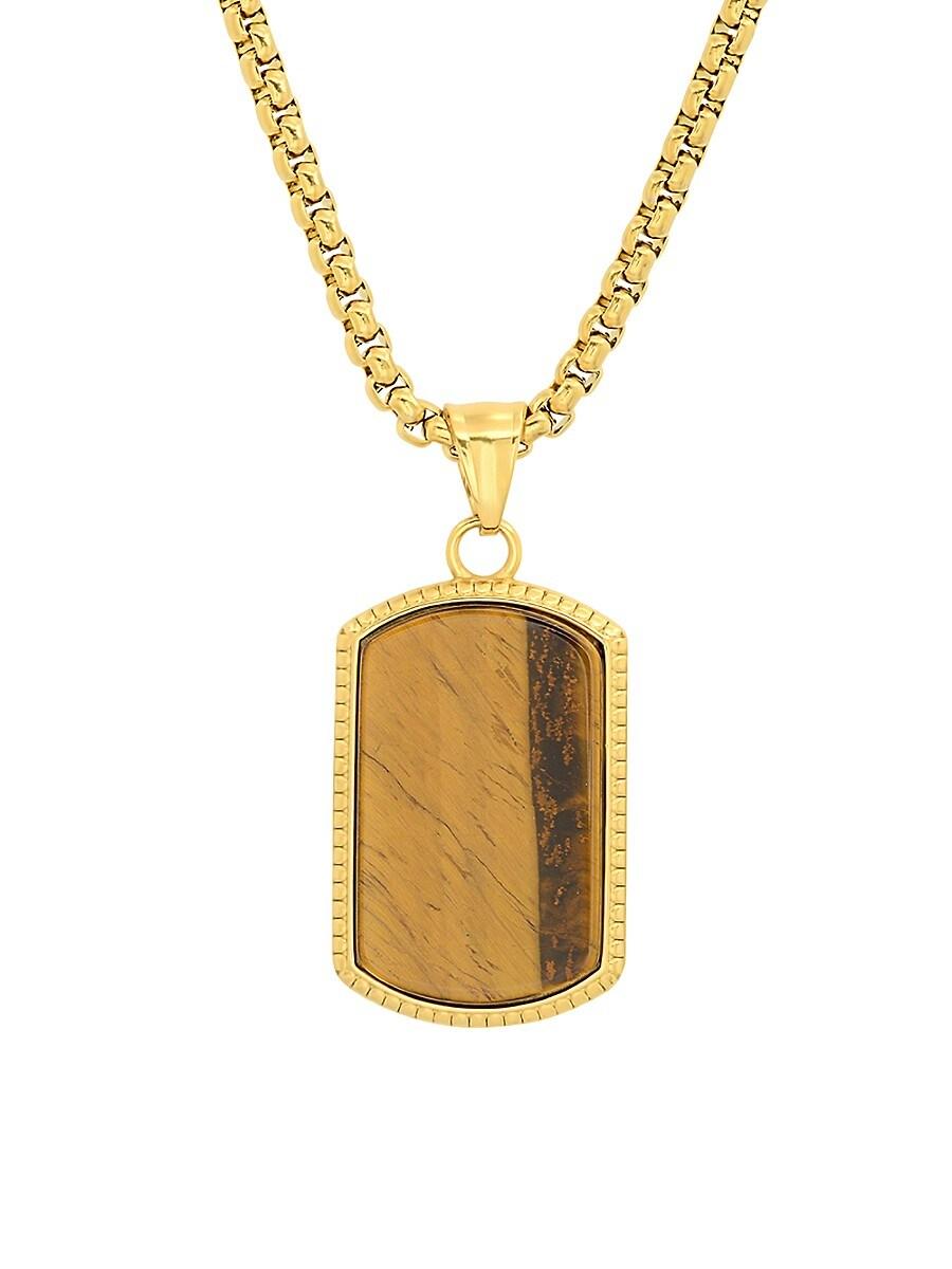 Men's 18K Goldplated & Tiger Eye Dog Tag Pendant Necklace