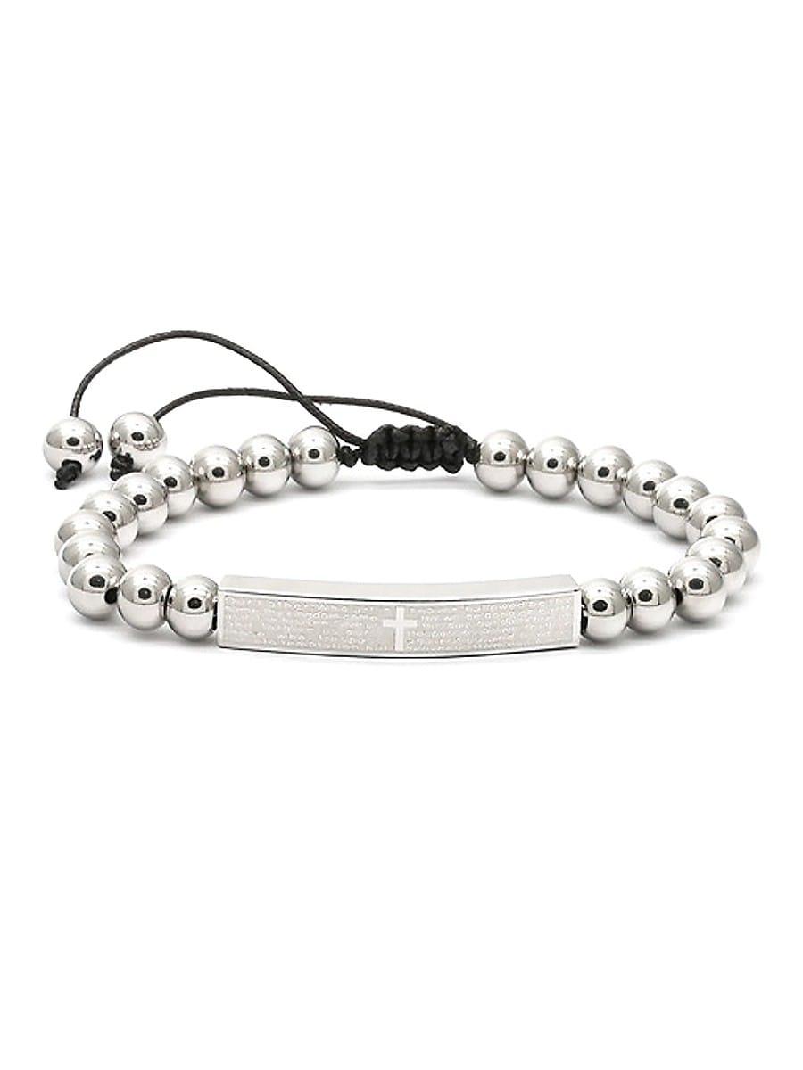 Men's Stainless Steel & White Agate Beaded ID Bracelet