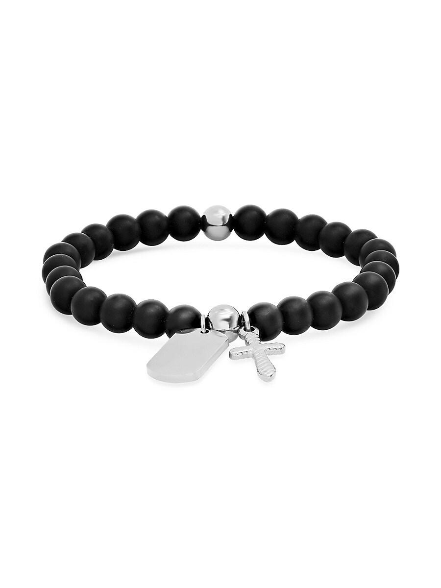 Men's Stainless Steel & Lava Beaded Charm Stretch Bracelet