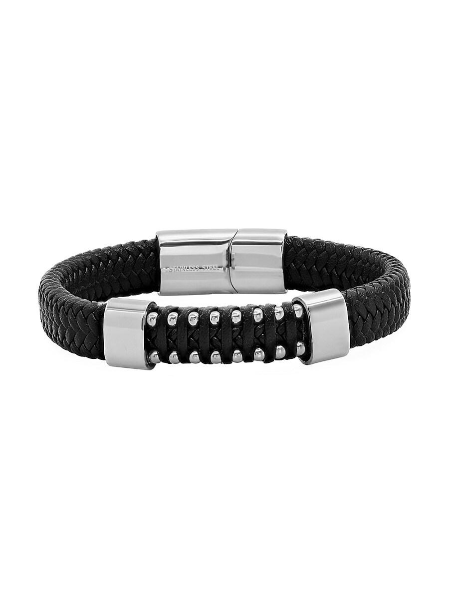 Men's Leather & Stainless Steel Braided Bracelet