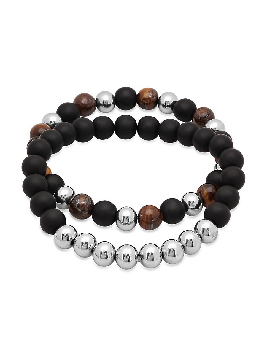 Men's 2-Piece Tiger Eye & Lava Beaded Stretch Bracelets