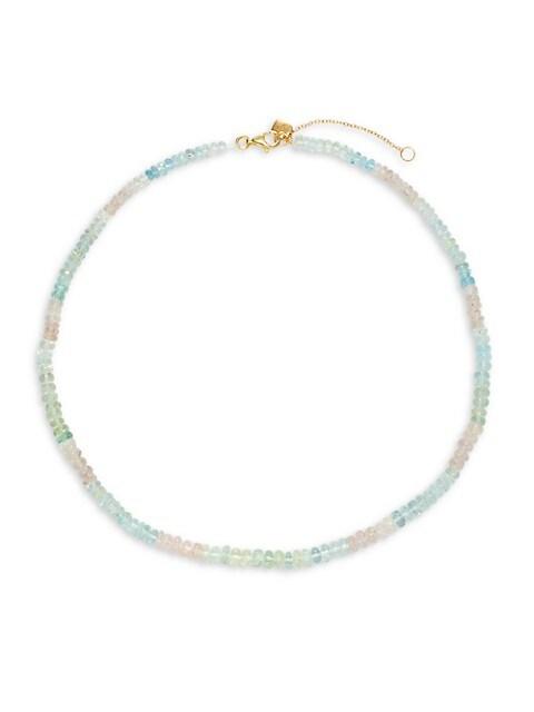 La Soula Goldplated Sterling Silver Aquamarine Multicolor Beaded Necklace