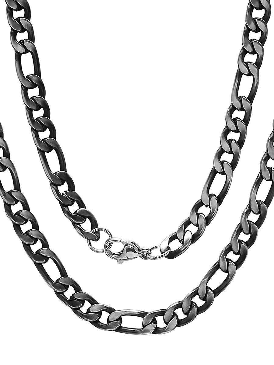 Men's Black IP Stainless Steel Figaro-Link Necklace