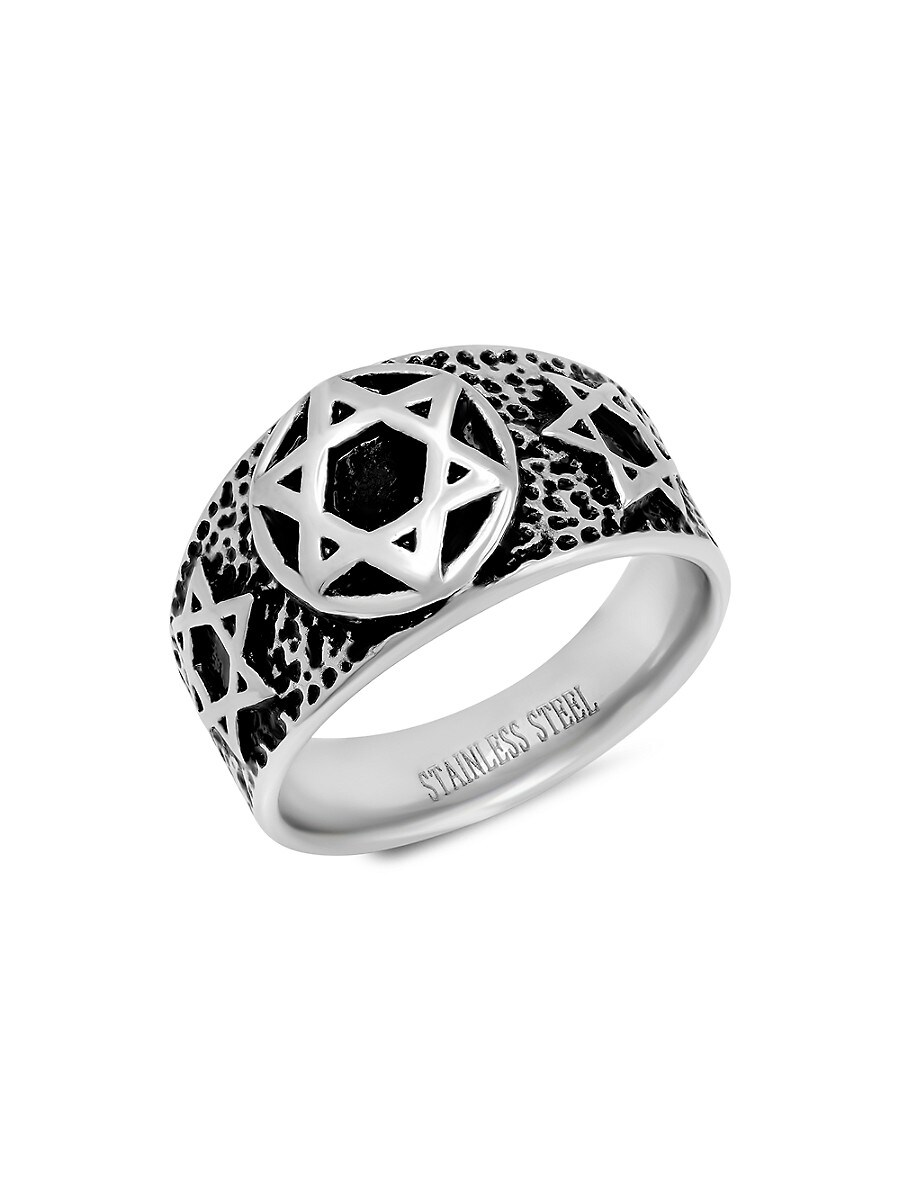 Men's Two-Tone Stainless Steel Star Of David Ring