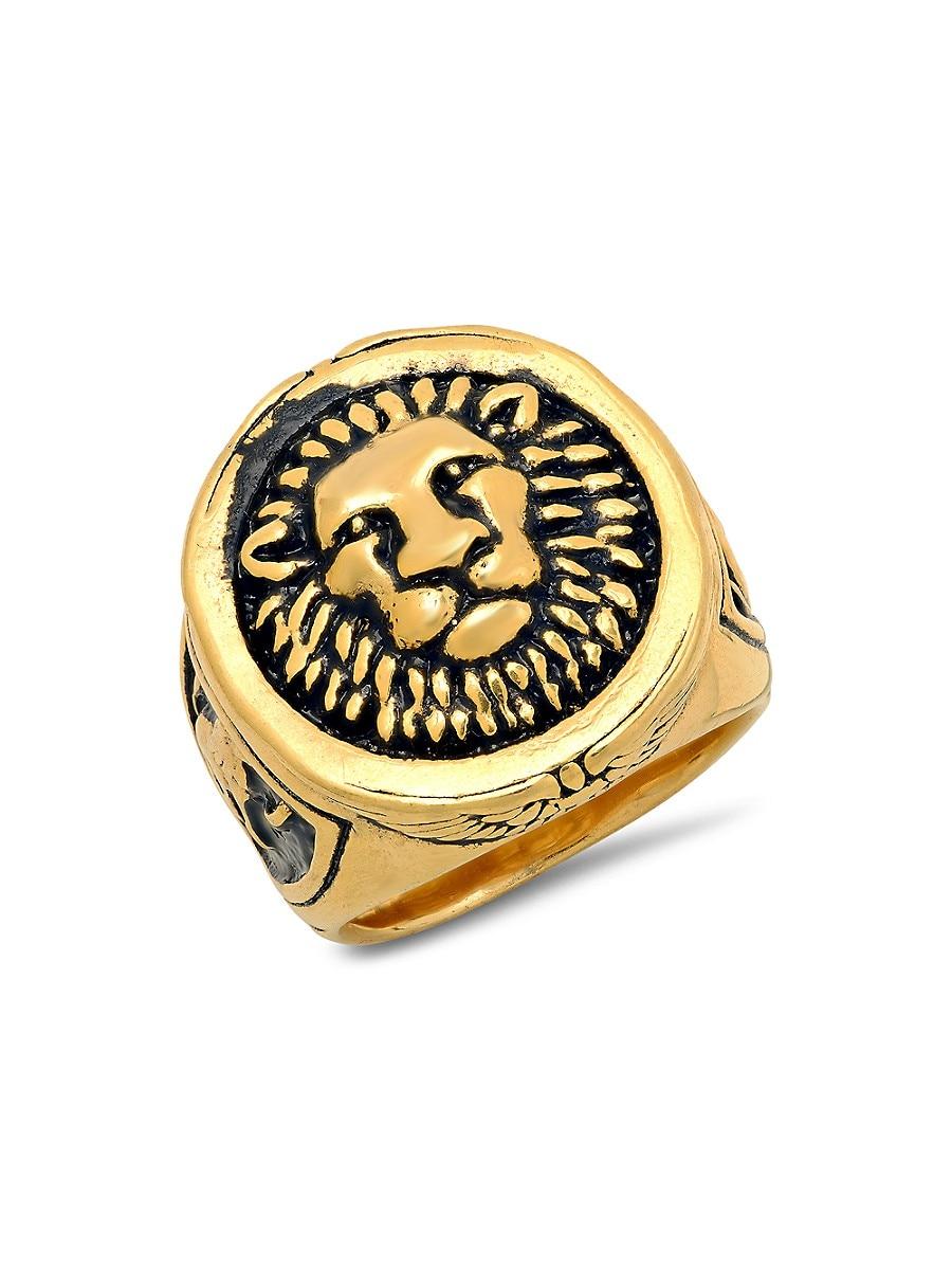 Men's 18K Goldplated Stainless Steel Lion Mount Ring