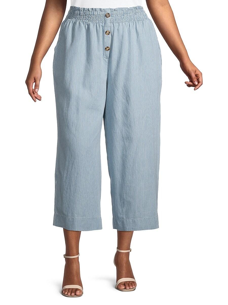 Women's Plus Julia Stripe Cropped Wide-Leg Pants