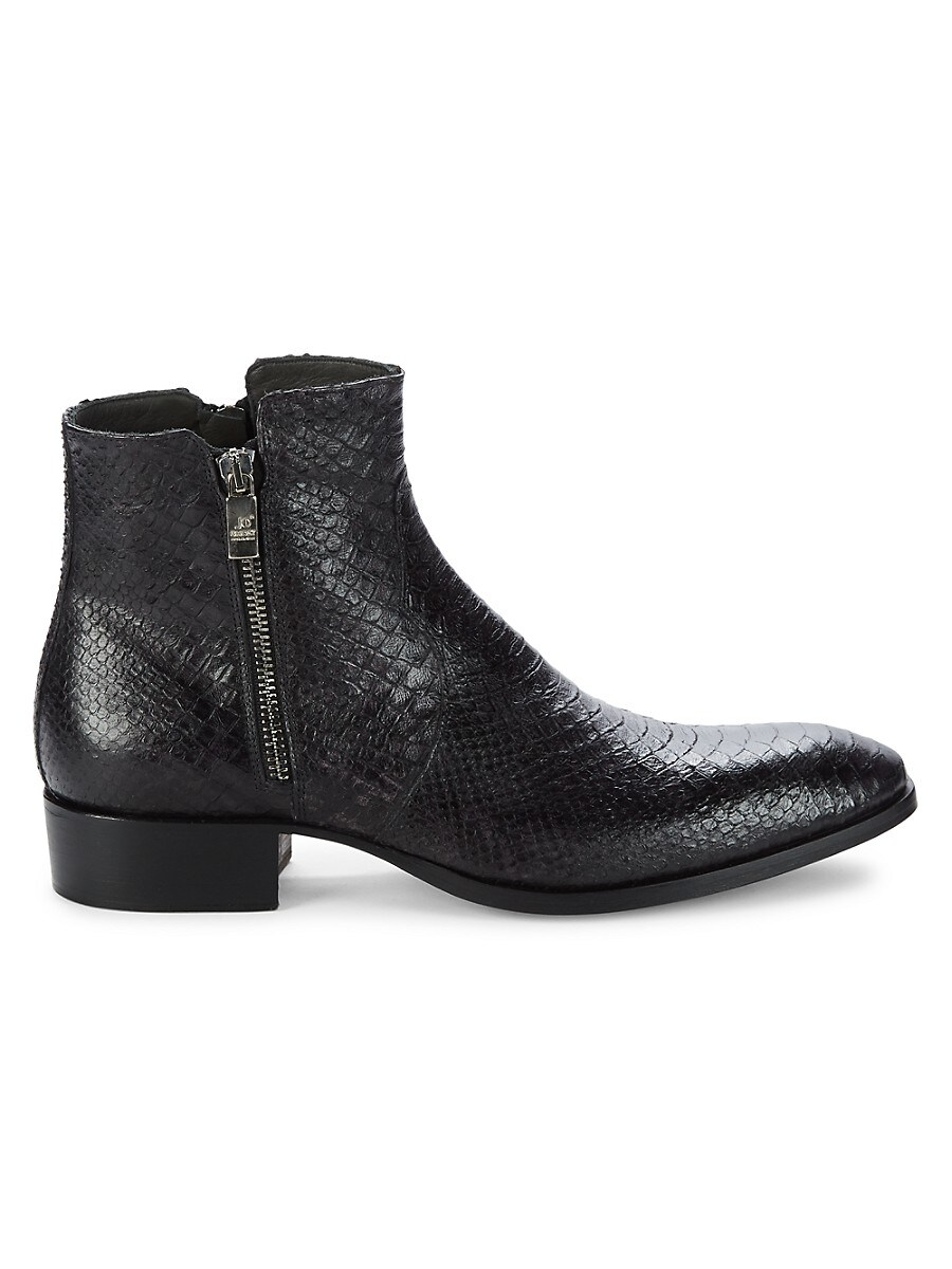Embossed Snake-Print Leather Boots