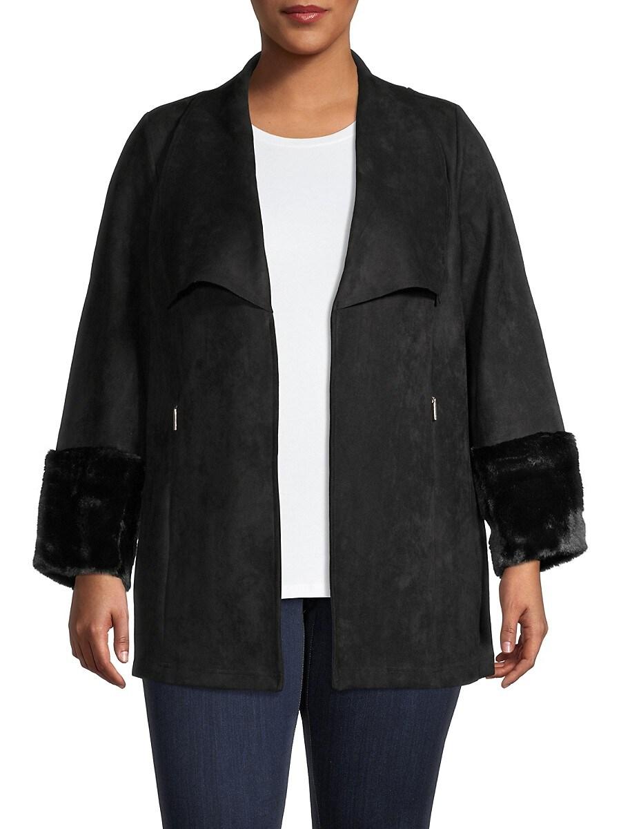 Women's Faux Suede & Faux Fur-Trim Jacket