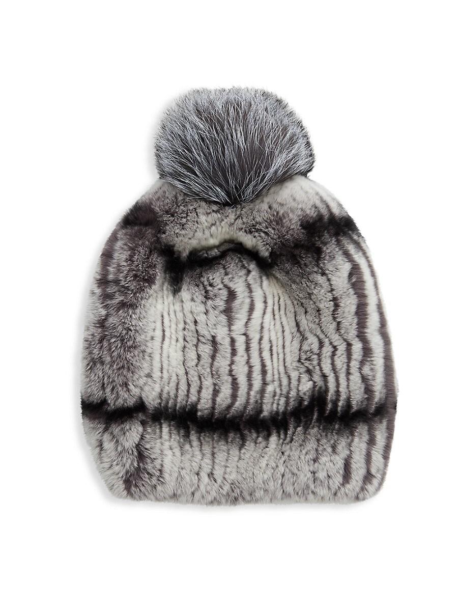 Women's Rabbit Fur & Fox Fur Pom-Pom Beanie
