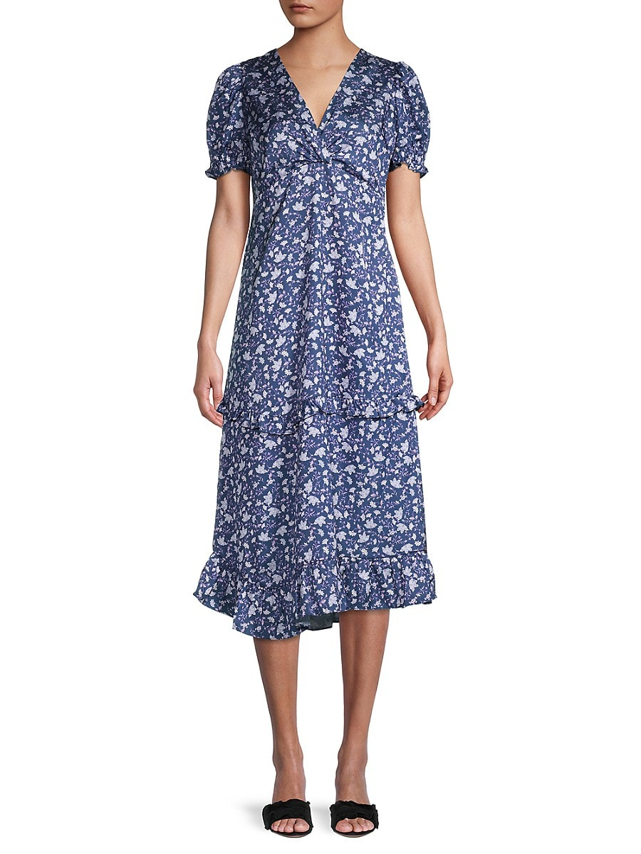Women's Twist-Front Floral Midi Dress