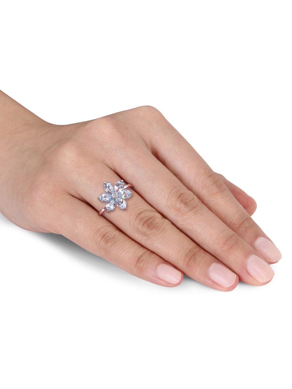 Sonatina 14K White Gold, Aquamarine & Diamond Flower Ring