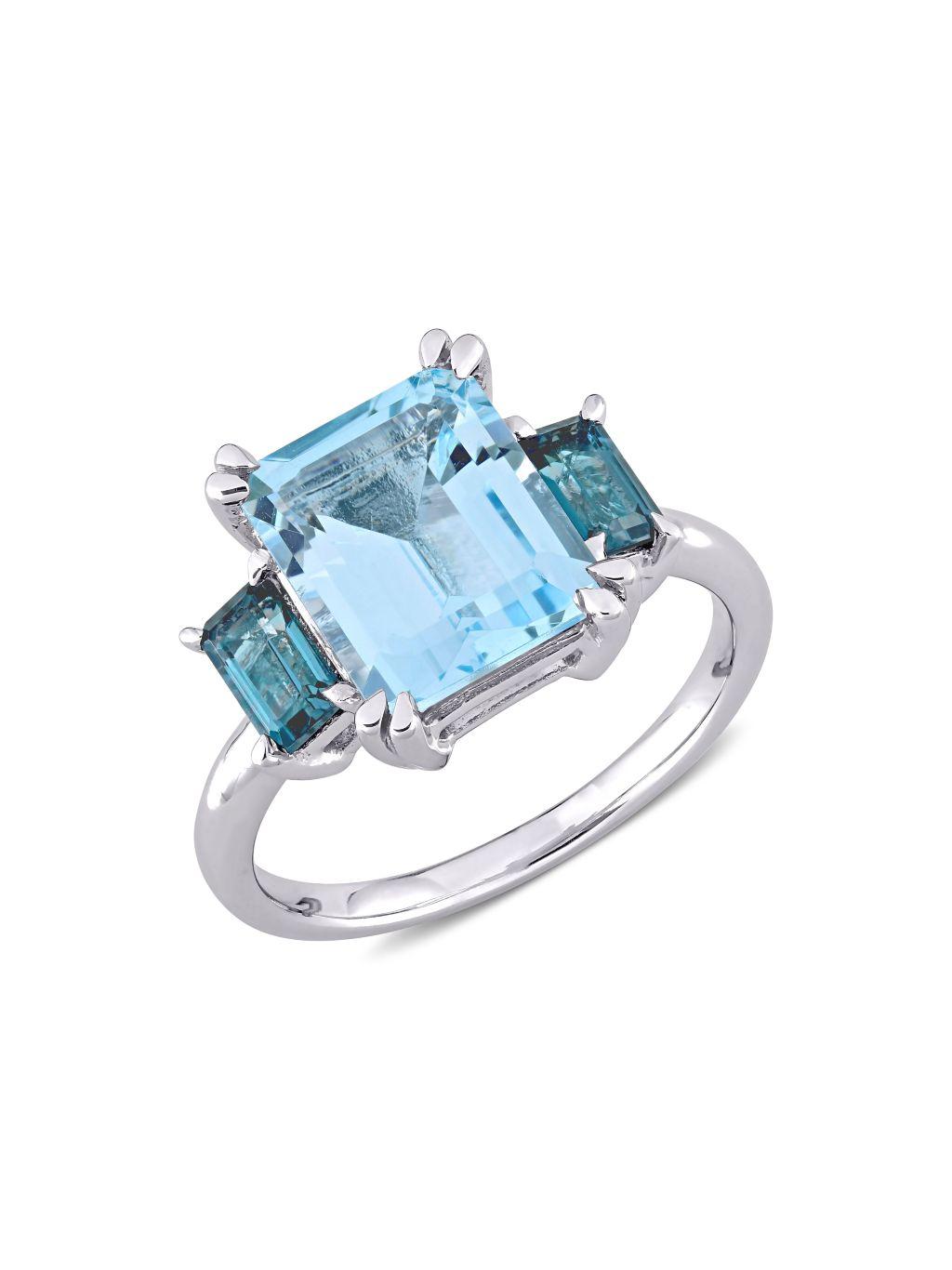 Sonatina 14K White Gold & London Blue & Sky Blue Topaz 3-Stone Ring
