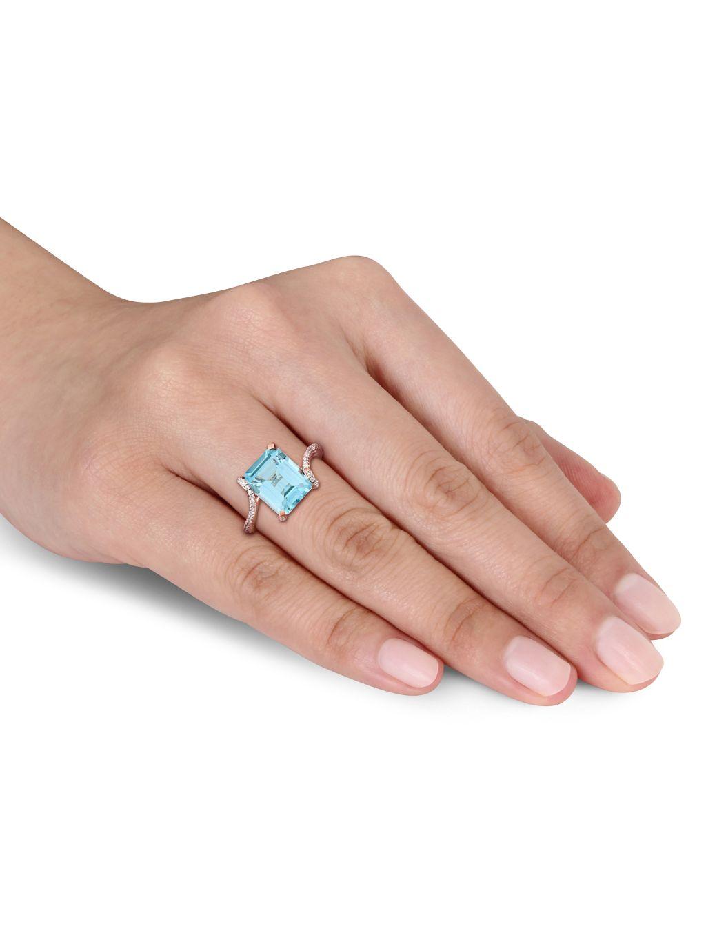 Sonatina 14K Rose Gold, Sky Blue Topaz & Diamond Bypass Cocktail Ring