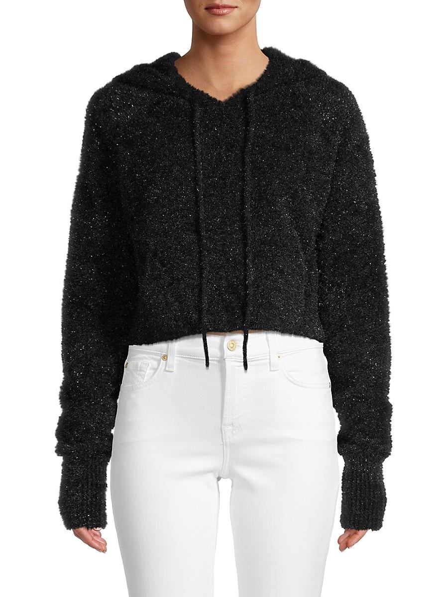 Women's Fuzzy Cropped Hoodie