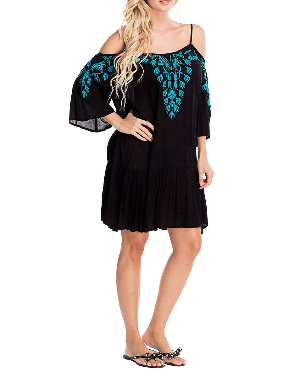 Women's Embroidered Cold-Shoulder Beach Dress