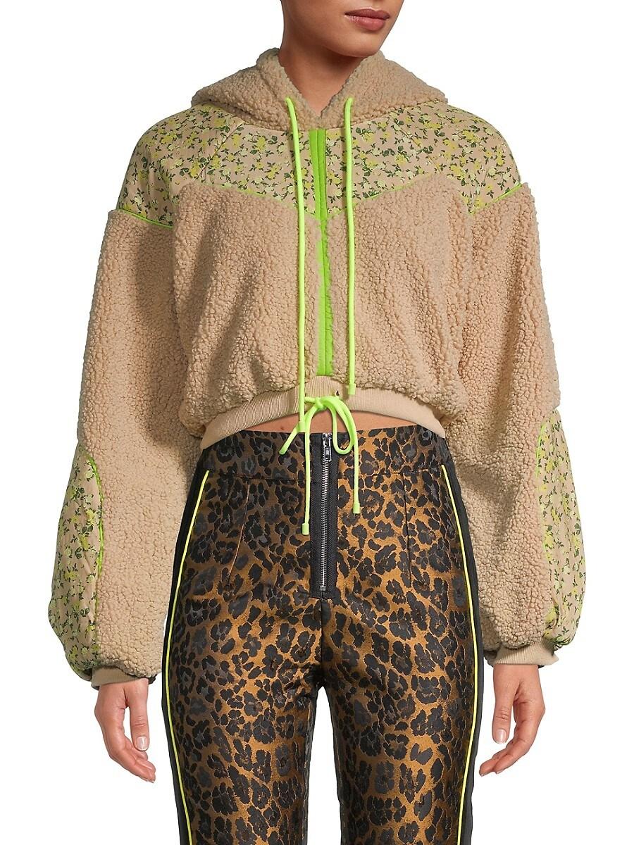 Women's Faux Fur Cropped Hoodie