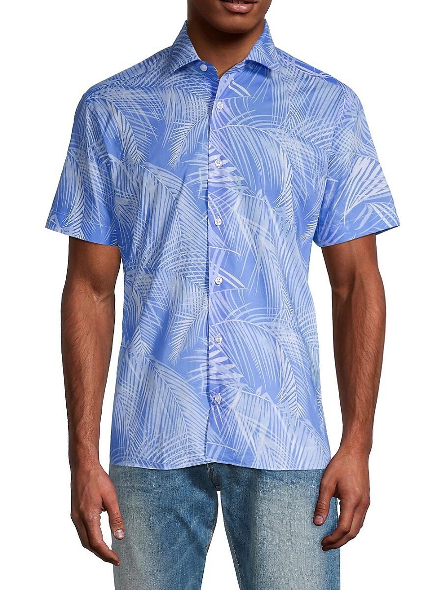 Men's Leaf-Print Short-Sleeve Cotton Shirt