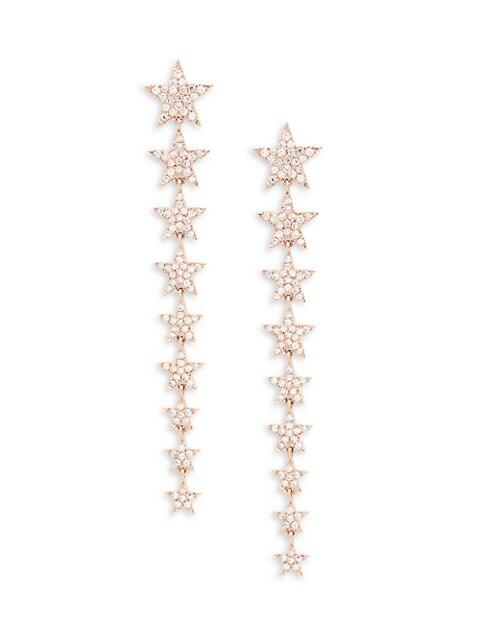Saks Fifth Avenue 14K Rose Gold & Diamond Star Linear Drop Earrings