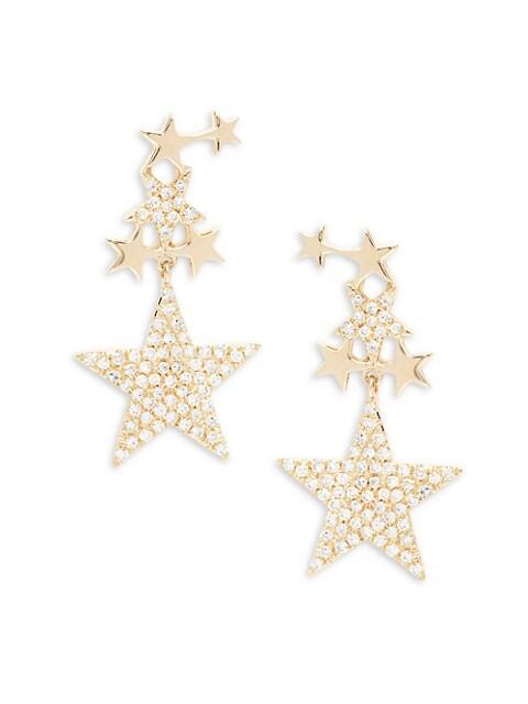 Saks Fifth Avenue 14K Yellow Gold & Diamond Star Drop Earrings