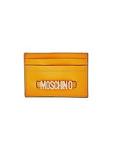 모스키노 Moschino Embellished Logo Leather Card Case,ORANGE