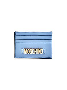 모스키노 Moschino Embellished Logo Leather Card Case,DUST BLUE