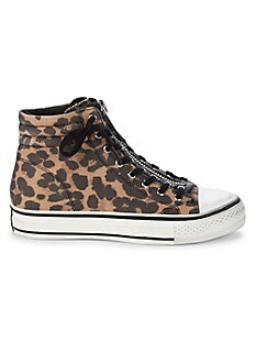 아쉬 스니커즈 ASH Grant Leopard-Print High-Top Sneakers,BLACK TAN