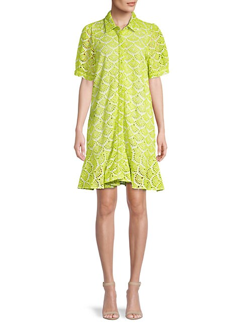 Tanya Taylor Aliciana Shell-patterned Dress In Lime