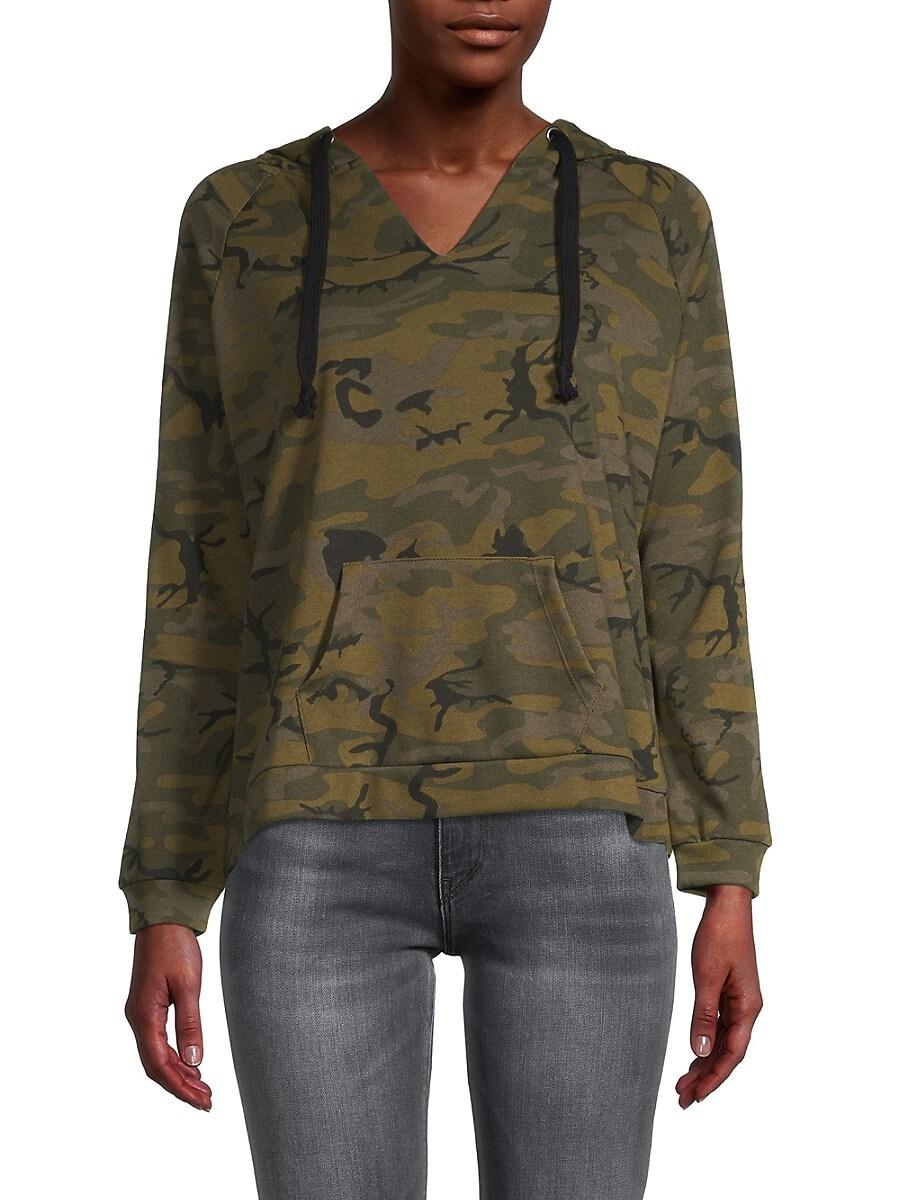 Women's Camo-Print Cotton-Blend Hoodie Jacket