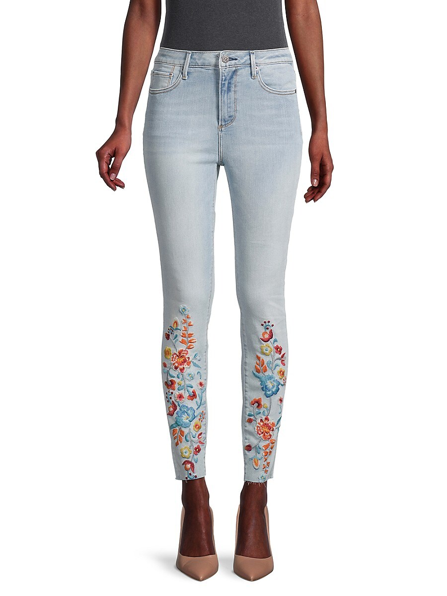 Women's Floral-Embroidered Mid-Rise Jeans