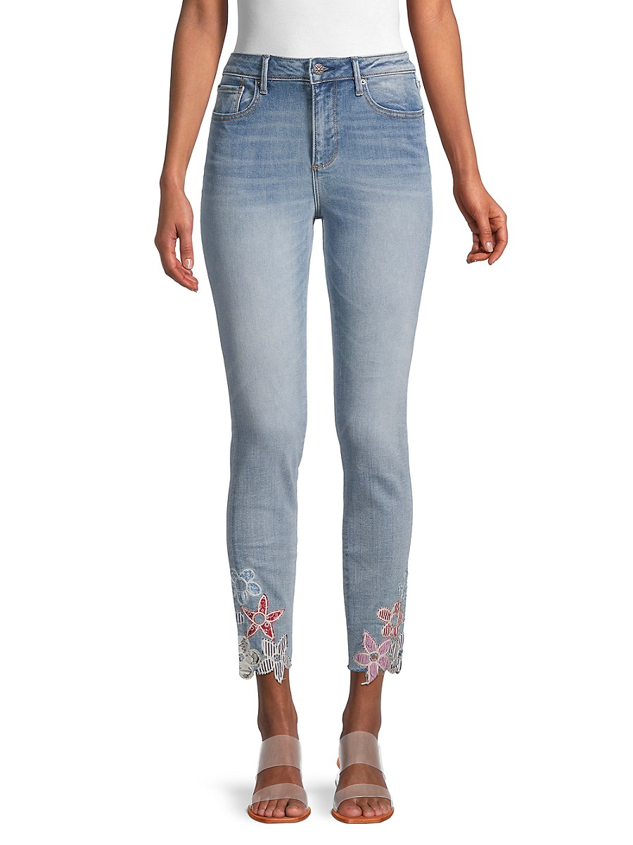 Driftwood Women's Floral-Trim Whiskered Jeans - Medium Wash - Size 25 (2)