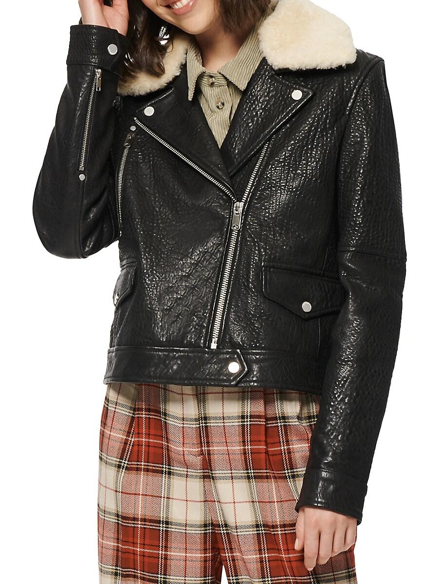 Women's Shearling-Trim Leather Moto Jacket