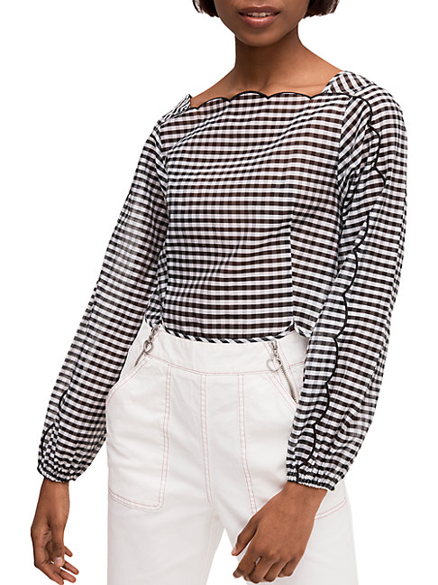 Kate Spade New York Embroidered Gingham Cotton amp Silk Blouse