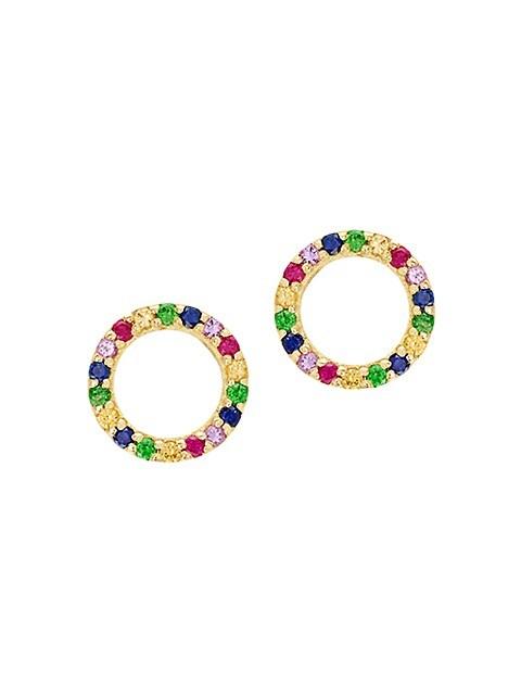 Lana Jewelry 14K Yellow Gold & Multicolor Sapphire Earrings