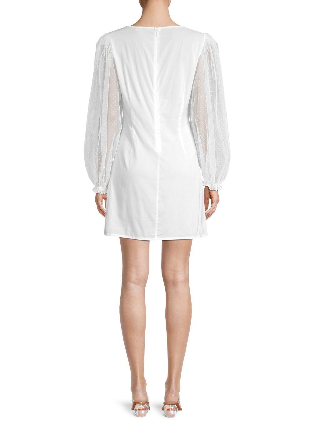 WeWoreWhat Sadie Mesh-Sleeve Mini Dress
