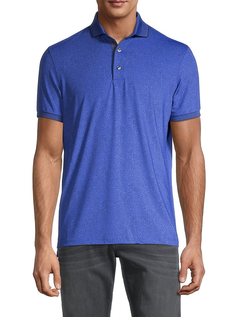 Men's Abstract Wolf-Print Polo