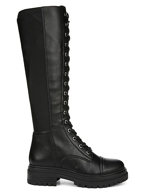 Gwen Faux Leather Tall Combat Boots