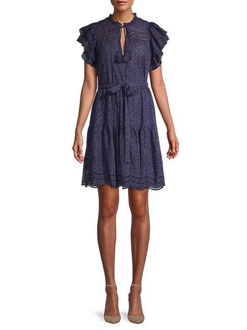 Bcbgmaxazria EYELET FLARED DRESS