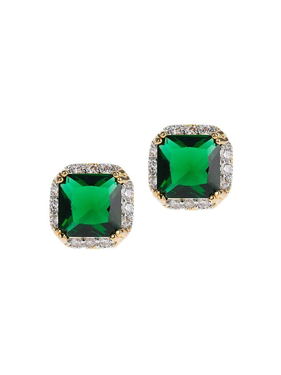 Women's Look of Real Rhodium-Plated & Crystal Stud Earrings