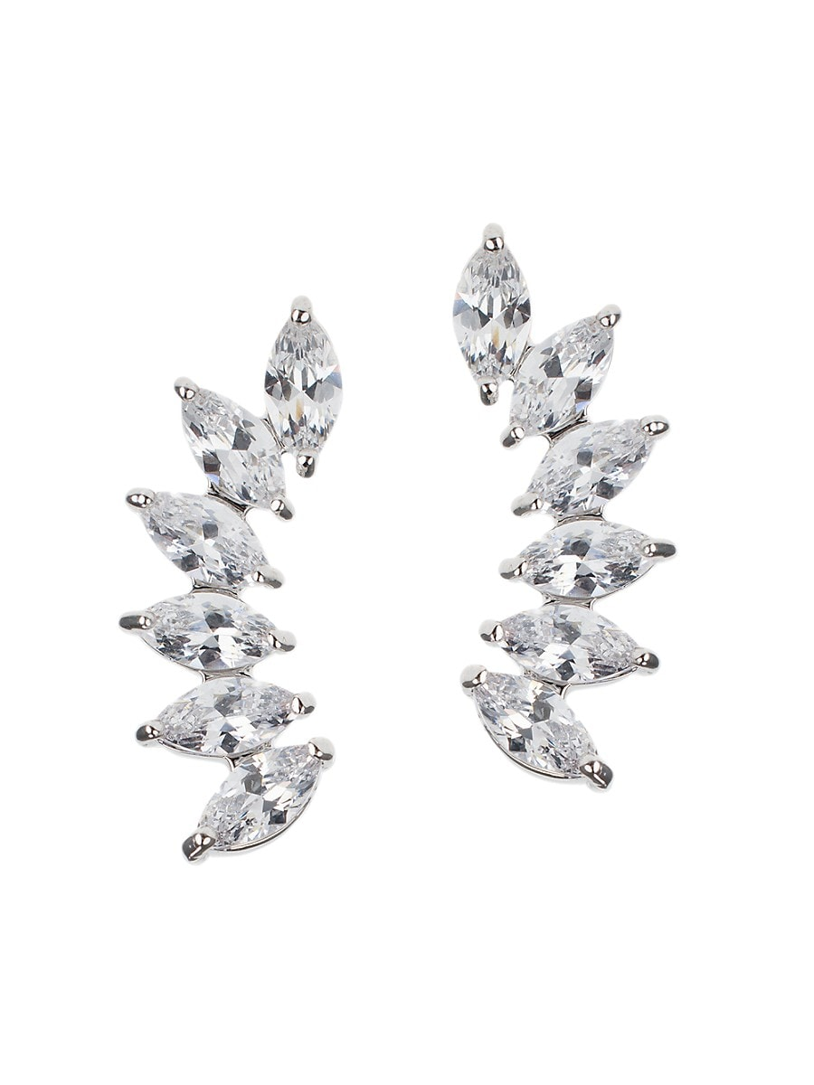 Women's Look of Real Rhodium-Plated & Marquise Crystal Earrings